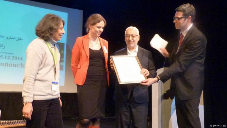Rachid Ghannouchi receiving the Ibn Rushd Prize 2014 (photo: Ibn Rushd Fund)