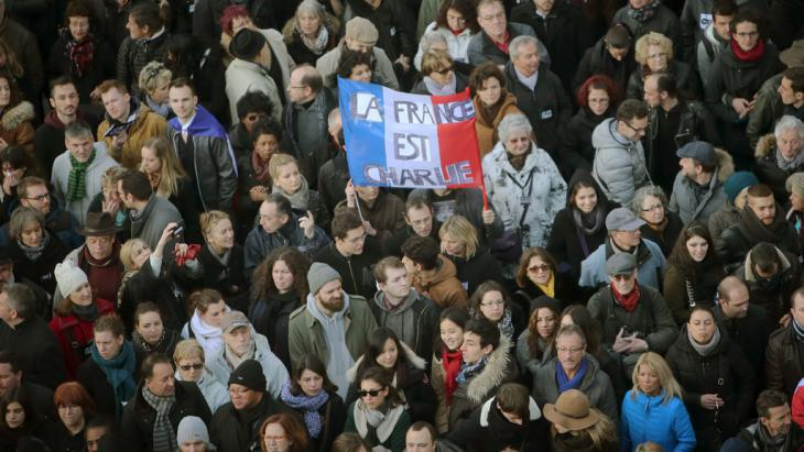 "Rally for the victims of the attacks on ""Charlie Hebdo"" on 11 January 2015 (photo: dpa/picture-alliance)"