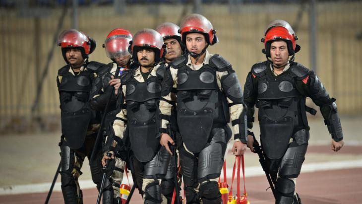 Members of the security forces at the stadium where riots took place at the weekend (photo: Mohamed El-Shahad/AFP/Getty Images)