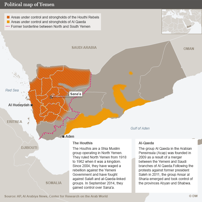 Map outlining areas controlled by Houthi rebels and al-Qaida in Yemen (source: DW)