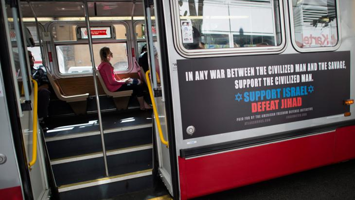 One of the controversial pro-Israel, anti-Islam ads on public transport in San Francisco organised by Pamela Geller's American Freedom Defense Initiative (photo: EPA/JOHN G. MABANGLO)