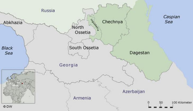 Map of the North Caucasus (source: DW)