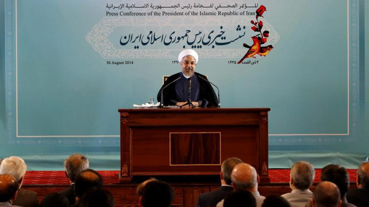 Iranian President Hassan Rouhani during a press conference in Tehran on 30 August 2014 (photo: dpa/picture-alliance)