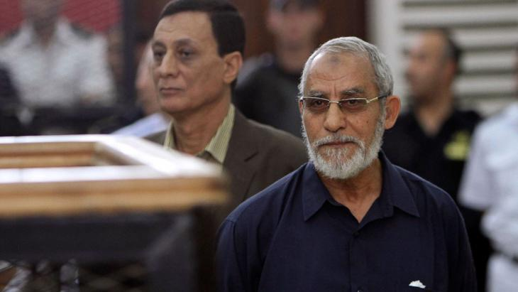 Mohammed Badie, head of the Muslim Brotherhood in Egypt, in a Cairo court (photo: Reuters)