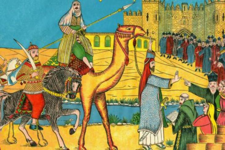 Umar, the second caliph of the Rashidun Caliphate, arriving in Jerusalem in 638 AD (source: picture-alliance/maxpp/picture-alliance/(c) Selva/Leemag)