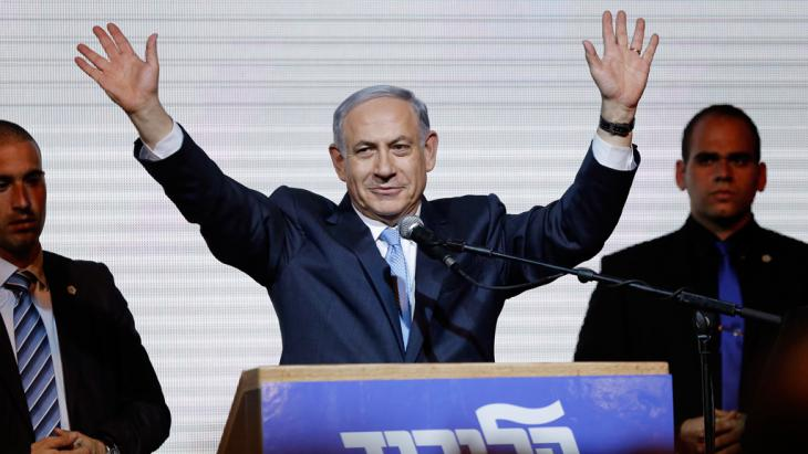 Prime Minister Benjamin Netanyahu celebrates victory in the Israeli election (photo: Reuters/Amir Cohen)