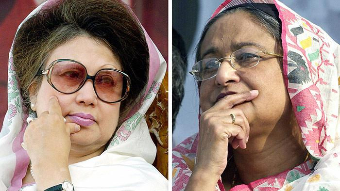 Khaleda Zia (left) and Sheikh Hasina (photo: Getty Images/AFP/FARJANA K. GODHULY)