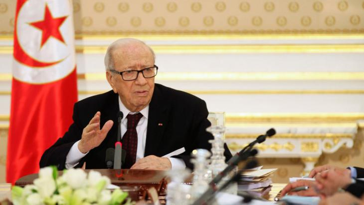 President Beji Caid Essebsi speaking after the Bardo Museum terrorist attack (photo: Reuters/Z. Souissi)