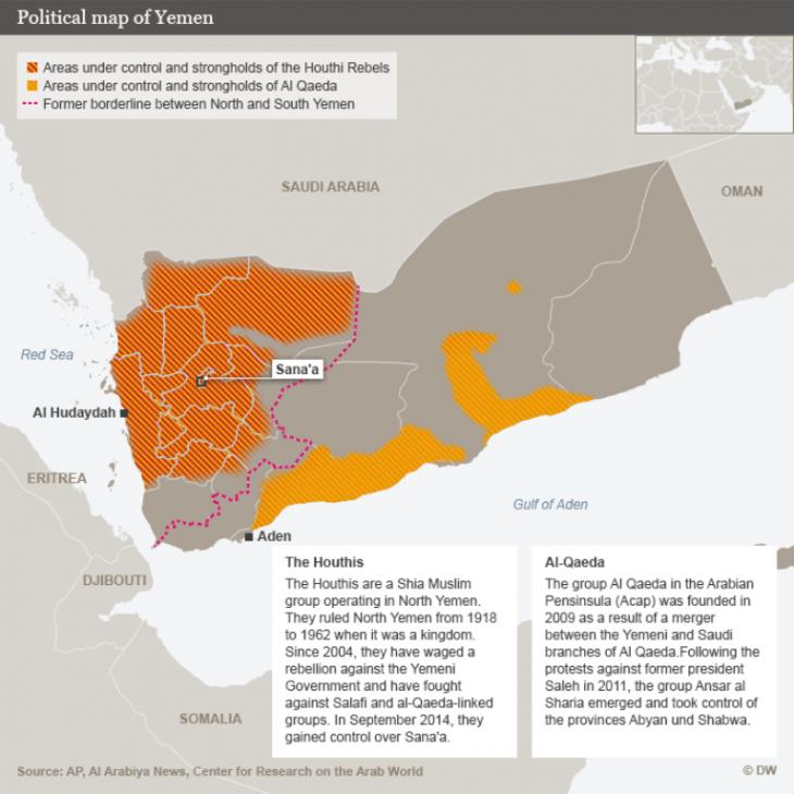 Political Map of Yemen (photo: DW)