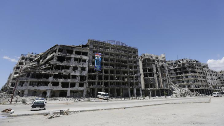 The facades of ruined buildings in the Syrian city of Homs (photo: AFP/Getty Images)