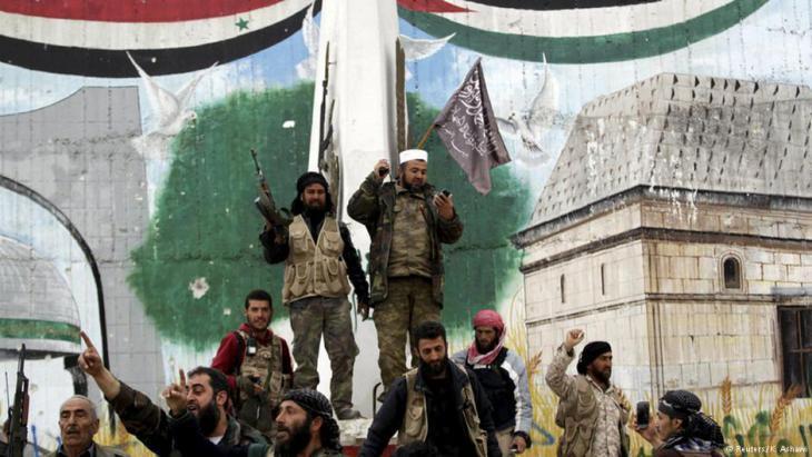 Members of the jihadi al-Nusra Front after taking Idlib (photo: Reuters)