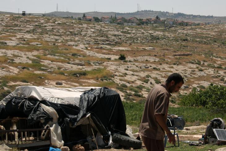 The settlement of Susiya viewed from Khirbet Susiya (photo: Ylenia Gostoli)