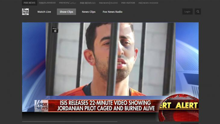 Still from a Fox News report on the IS video that showed the Jordanian pilot Moaz al-Kasasbeh being burned alive (photo: Fox News)