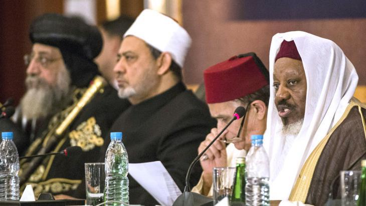 Anti-terror conference on religion and extremism in Cairo with Sheikh Ahmed al-Tayeb (centre) (photo: AFP/Getty Images/K. Desouki)