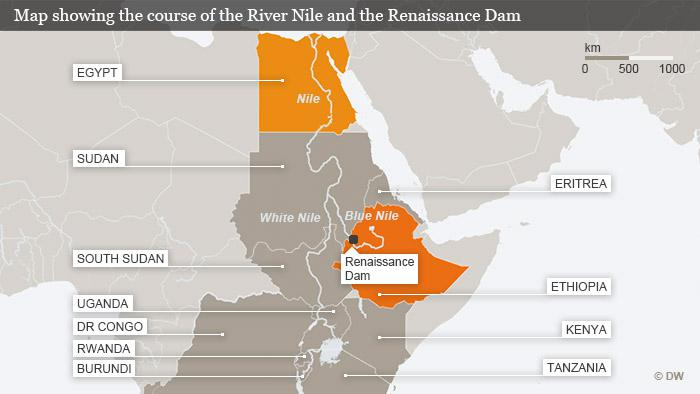 Map showing the  White Nile, the Blue Nile, the GERD and the countries of the Nile (photo: DW)