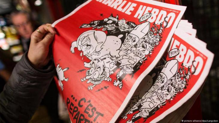 "The edition of the satirical magazine ""Charlie Hebdo"" published seven weeks after the attack on the magazine's editorial offices in Paris (photo: picture-alliance/dpa/Langsdon)"