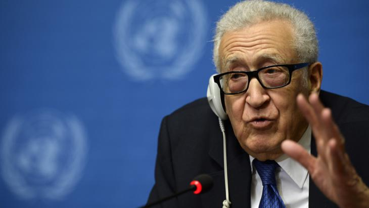 UN mediator Lakhdar Brahimi gestures as he talks during a press conference on the Syrian peace talks at the United Nations headquarters in Geneva on 15 February 2014 (photo: PHILIPPE DESMAZES/AFP/Getty Images)