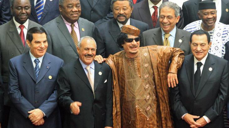 Neo-patriarchs: Zine el-Abidine Ben Ali, Ali Abdullah Saleh, Muammar Gaddafi, Hosni Mubarak (photo: picture-alliance/dpa)