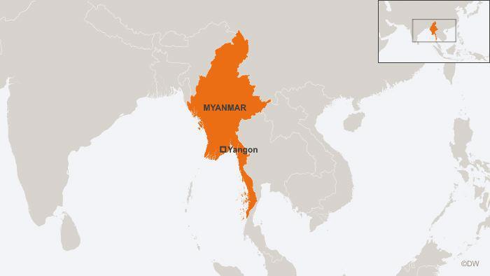 Map showing Myanmar (source: DW)