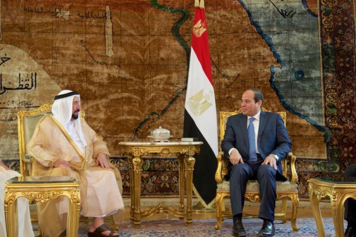 Sultan bin Muhammad al-Qasimi, ruler of the Emirate of Sharjah, visiting President Abdul Fattah al-Sisi in Cairo (photo: AP)