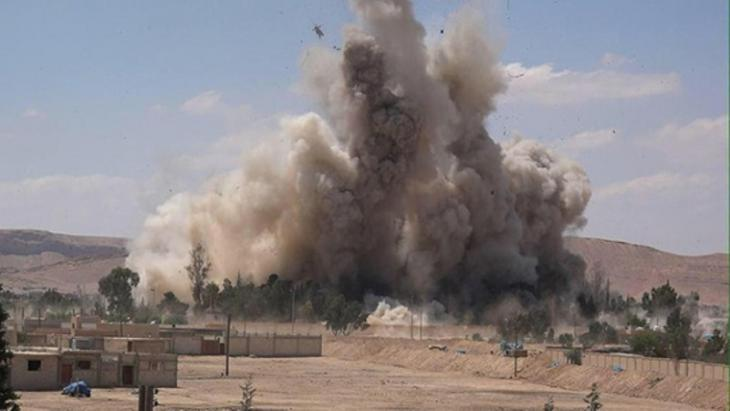 Tadmur prison is blown up by Islamic State (source: Wilayat Media Group/Twitter)