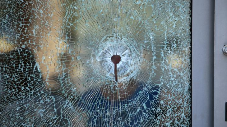 Bullet holes in glass, the Merhaba Hotel in Sousse (photo: Reuters/Z. Souissi)