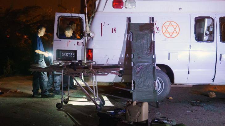 Israeli military ambulance attacked by Israeli Druze, 22 June 2015 (photo: STR/AFP/Getty Images)