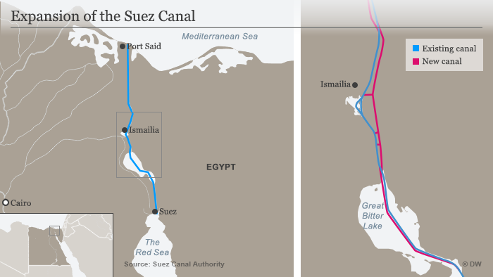 Map showing the extension of the Suez Canal (source: DW)