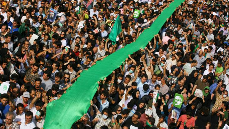 "Demonstration by supporters of the ""Green Movement"" in Tehran, 15 June 2009 (photo: Getty Images)"