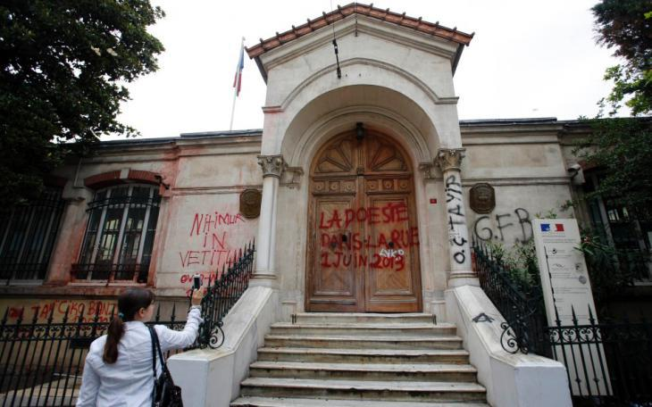 """La poesie est dans la rue!"" written on the entrance to the French Consulate General, Istanbul (photo: Murad Sezer/Reuters)"