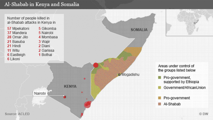 Map showing the influence of al-Shabab in Kenya and Somalia (source: DW)