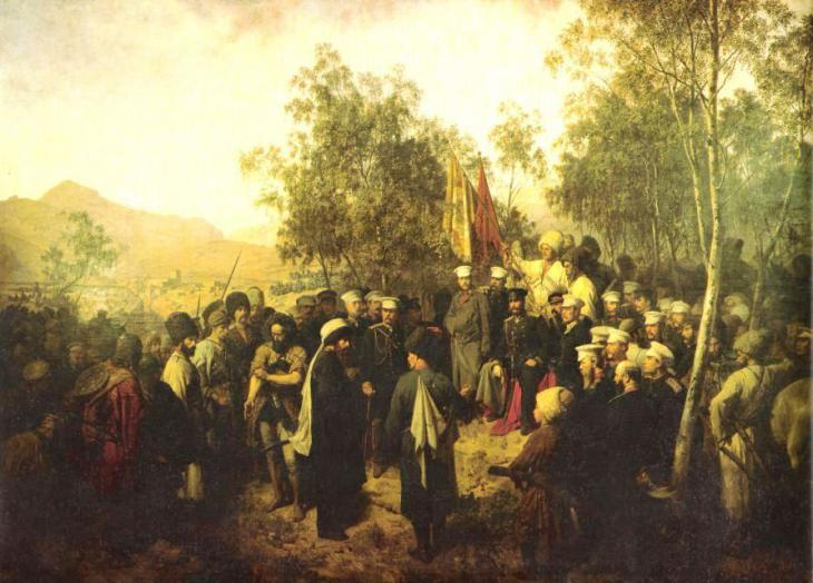 """Horschelt. Surrender of Shamil. 1863"" by Theodor Horschelt - bogatov.info (photo: Public Domain via Commons)"
