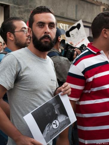 "Demonstration against the government's ""business amnesty legislation"" in Tunisia (photo: Sarah Mersch)"