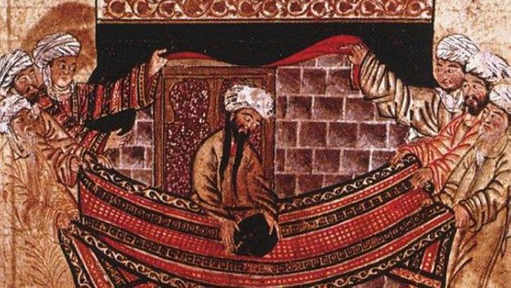 The prophet Mohammed lays the black stone on a carpet held by four men representing the four tribes (photo: public domain)
