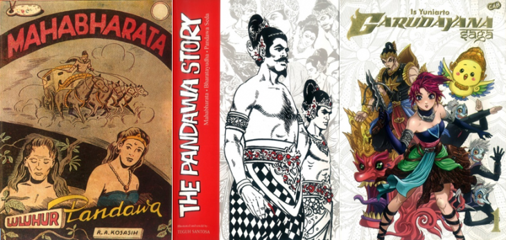 From left to right: 1956 Mahabharata by R.A. Kosasih; first edition of Teguh Santosa′s ″The Pandawa Story″ from 1984 – re-issued in English in 2013; the manga-style ″Garudayana Saga″ by Is Yuniarto (2013)