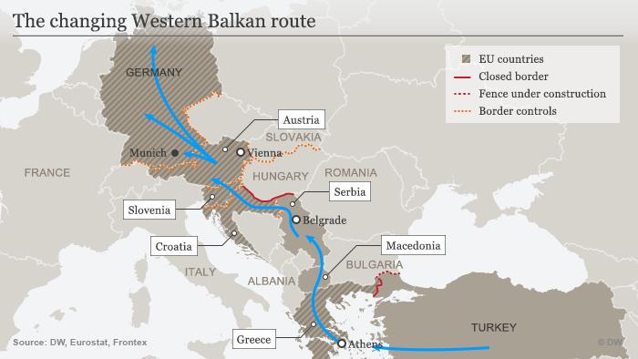 The West Balkan route (source: Deutsche Welle)
