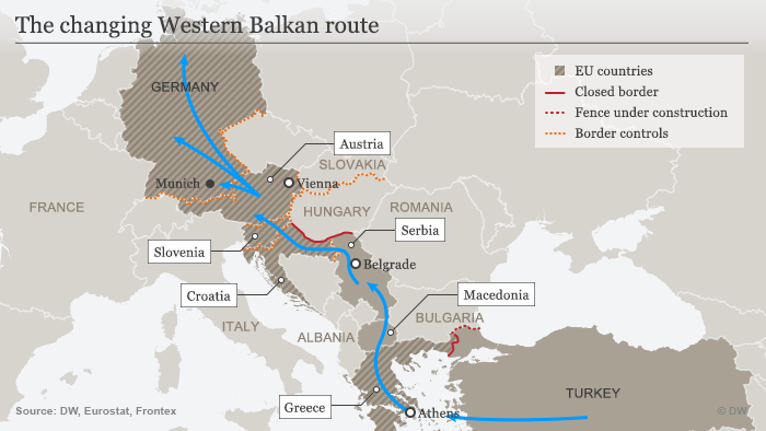 The West Balkan route (source: Deutsche Welle)