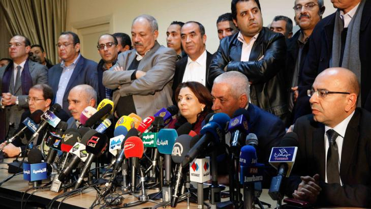 Press conference given by the Tunisian National Dialogue Quartet (photo: picture-alliance/dpa/C.B. Ibrahim)