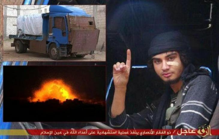Farewell image of an IS suicide bomber (source:donotgothere.org)