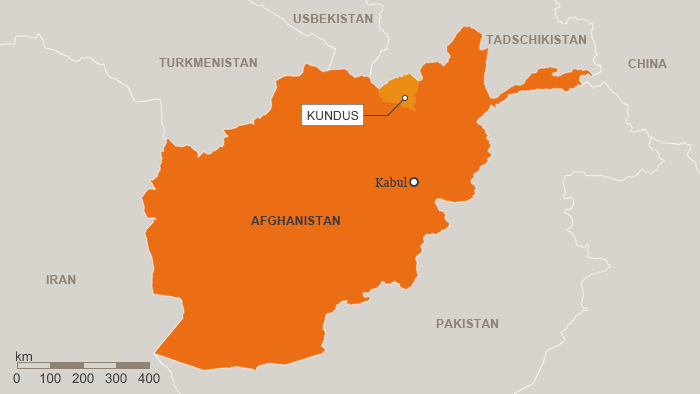 Map of Afghanistan showing Kunduz province (source: DW)