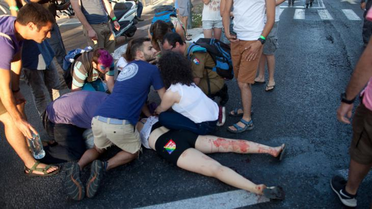 Ultraorthodox Jew attacks Gay Pride Parade participant wtih a knife in Jerusalem (photo: Lior Mizrahi/Getty Images)
