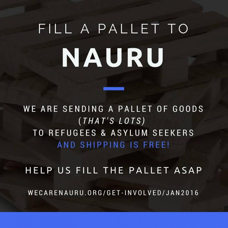 Fill a pallet to Nauru campaign (source: http://wecarenauru.org)