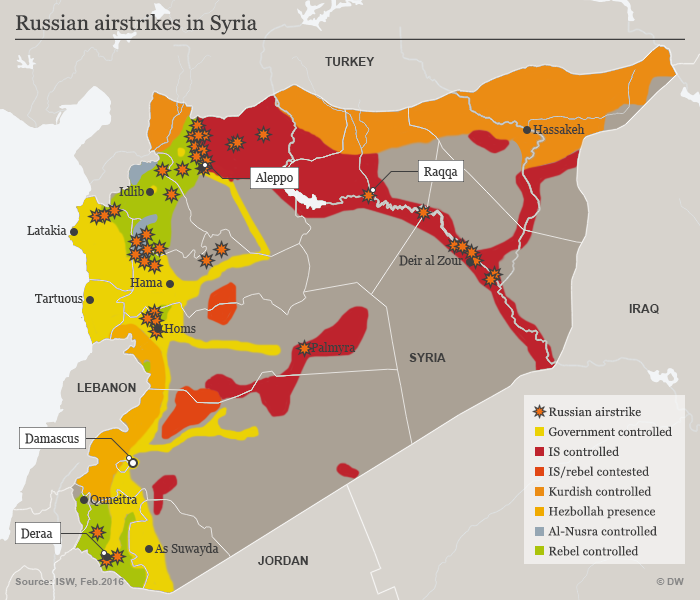 Map showing Russian airstrikes in Syria (source: Deutsche Welle)