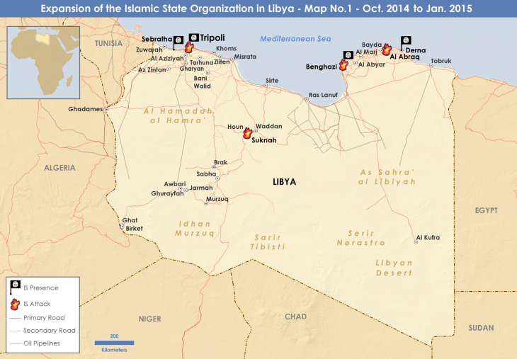 IS military operations in Libya up to January 2015 (source: private)