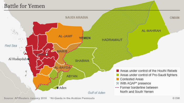 Infographic showing territories held by the warring factions (source: Deutsche Welle)