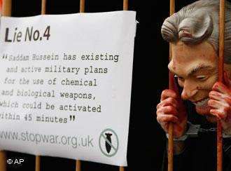 Demonstrating against Tony Blair's Iraq lies in London (photo: AP)