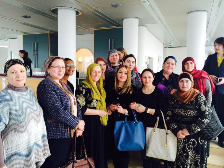 The first graduates, from the Chechen community, of the Austrian Mothers' School at the award ceremony on 8 March 2016 in Vienna (photo: ″Women without Borders″)