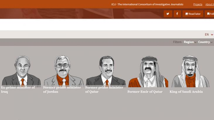 Panama revelations: screenshot taken from the ICIJ website (International Consortium of Investigative Journalists)