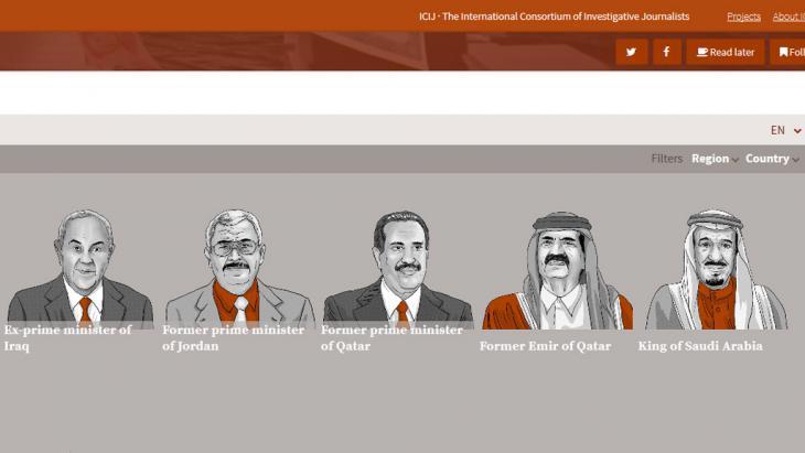 Panama revelations: screenshot taken from the ICIJ website (International Consortium of Investigative Journalists)