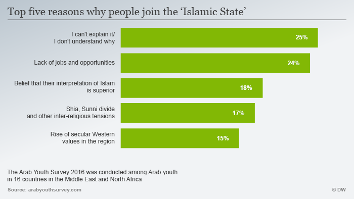Top five reasons why people choose Islamic State (source: Arab Youth Survey 2016)